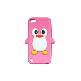 Coque silicone pour Ipod Touch 5 pingouin rose bonbon + film protection écran