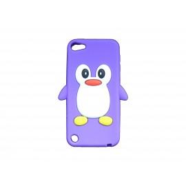 Coque silicone pour Ipod Touch 5 pingouin violet + film protection écran