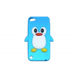 Coque silicone pour Ipod Touch 5 pingouin bleu turquoise + film protection écran