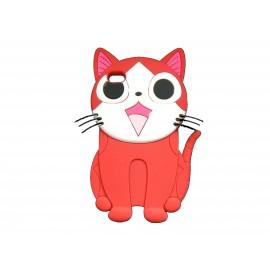 Coque silicone pour Ipod Touch 4 chat rouge + film protection écran