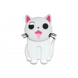 Coque silicone pour Ipod Touch 4 chat blanc + film protection écran