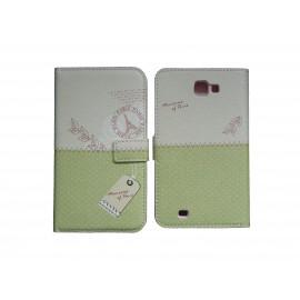 Pochette pour Samsung Galaxy Note 2 / N7100 simili-cuir vert pois blancs + film protectin écran