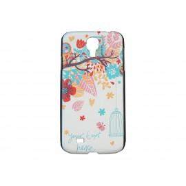 Coque  pour Samsung Galaxy S4 / I9500 oiseau bleu fleur rouge + film protection écran offert