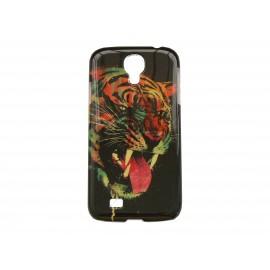 Coque  pour Samsung Galaxy S4 / I9500 tigre sur fond noir + film protection écran offert