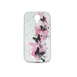Coque silicone pour Samsung Galaxy S4 / I9500 blanche papillons roses et noirs + film protection écran offert