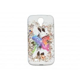Coque silicone pour Samsung Galaxy S4 / I9500 papillon multicolore + film protection écran offert