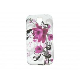 Coque silicone pour Samsung Galaxy S4 / I9500 fleurs roses + film protection écran offert
