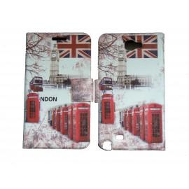 Pochette pour Samsung Galaxy Note 2 / N7100 simili-cuir Big Ben Bus/ UK Angleterre + film protectin écran