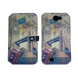 Pochette pour Samsung Galaxy Note 2 / N7100 simili-cuir Big Ben + film protectin écran