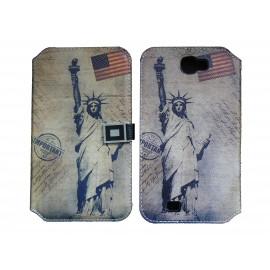 Pochette pour Samsung Galaxy Note 2 / N7100 simili-cuir Statut de la liberté+ film protectin écran