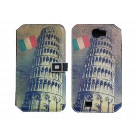 Pochette pour Samsung Galaxy Note 2 / N7100 simili-cuir Italie Tour de Pise+ film protectin écran