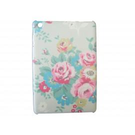 Coque pour Ipad Mini beige fleurs roses + film protection écran offert