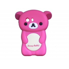 Coque silicone pour Samsung Galaxy Y/S5360 ourson rose fuschia + film protection écran offert