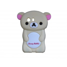 Coque silicone pour Samsung Galaxy Y/S5360 ourson beige + film protection écran offert