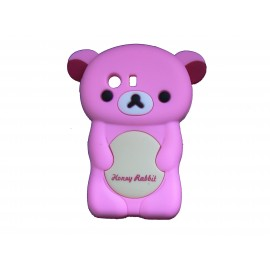 Coque silicone pour Samsung Galaxy Y/S5360 ourson rose + film protection écran offert