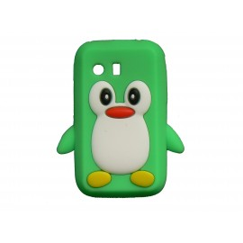 Coque silicone pour Samsung Galaxy Y/S5360 pingouin vert + film protection écran offert