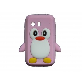 Coque silicone pour Samsung Galaxy Y/S5360 pingouin rose + film protection écran offert