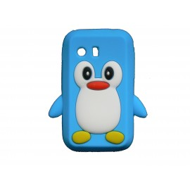 Coque silicone pour Samsung Galaxy Y/S5360 pingouin bleu turquoise + film protection écran offert