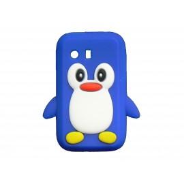 Coque silicone pour Samsung Galaxy Y/S5360 pingouin bleu + film protection écran offert