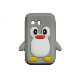 Coque silicone pour Samsung Galaxy Y/S5360 pingouin gris + film protection écran offert