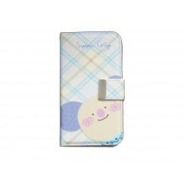 Pochette pour Samsung I9500 Galaxy S4 simili-cuir koala rayée bleue + film protectin écran