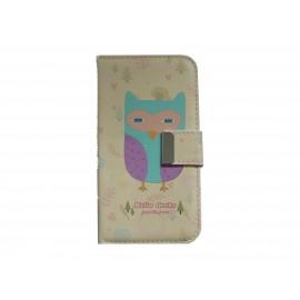 Pochette pour Samsung I9500 Galaxy S4 simili-cuir hibou violet + film protectin écran