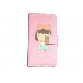 Pochette pour Samsung I9500 Galaxy S4 simili-cuir petite fille robe verte + film protectin écran