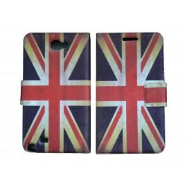 Pochette pour Samsung Galaxy Note 2 / N7100 simili-cuir drapeau Angleterre / UK + film protectin écran