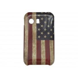 Coque silicone pour Samsung Galaxy Y/S5360 drapeau Etats-Unis/USA vintage + film protection écran offert