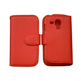 Etui portefeuille pour Samsung I8190/Galaxy S3 mini simili-cuir rouge + film protectin écran