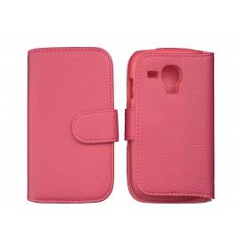 Etui portefeuille pour Samsung I8190/Galaxy S3 mini simili-cuir rose + film protectin écran