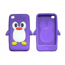 Coque silicone pour Ipod Touch 4 pingouin violet + film protection écran