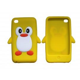 Coque silicone pour Ipod Touch 4 pingouin jaune + film protection écran