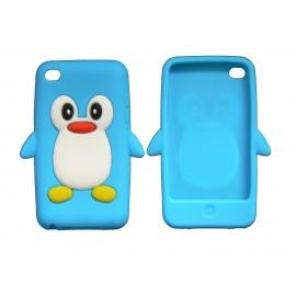 Coque silicone pour Ipod Touch 4 pingouin bleu turquoise + film protection écran