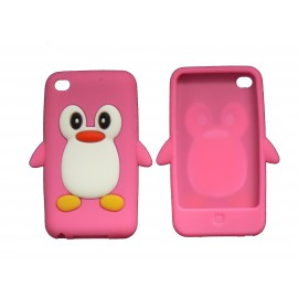 Coque silicone pour Ipod Touch 4 pingouin rose bonbon + film protection écran