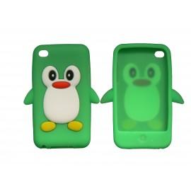 Coque silicone pour Ipod Touch 4 pingouin vert+ film protection écran