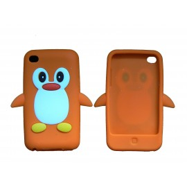 Coque silicone pour Ipod Touch 4 pingouin orange + film protection écran