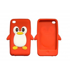 Coque silicone pour Ipod Touch 4 pingouin rouge + film protection écran