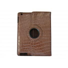 Pochette Ipad 2/3 nouvel Ipad simili-cuir marron crocodile + film protection écran