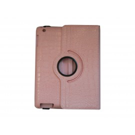 Pochette Ipad 2/3 nouvel Ipad simili-cuir rose clair crocodile + film protection écran
