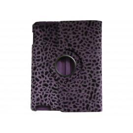 Pochette Ipad 2/3 nouvel Ipad simili-cuir léopard violet + film protection écran