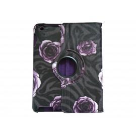 Pochette Ipad 2/3 nouvel Ipad simili-cuir fleurs violettes + film protection écran