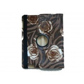 Pochette Ipad 2/3 nouvel Ipad simili-cuir fleurs marrons + film protection écran