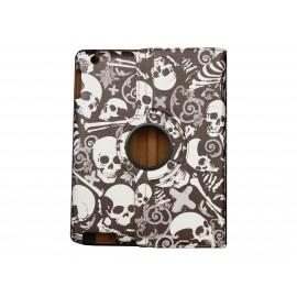 Pochette Ipad 2/3 nouvel Ipad simili-cuir marron tête de mort + film protection écran