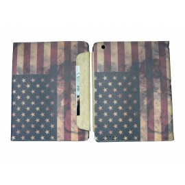 Pochette Ipad 2/3 nouvel Ipad drapeau USA/Etats-Unis vintage version 5 + film protection écran