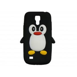 Coque silicone pour Samsung Galaxy S4 Mini / I9190 pingouin noir + film protection écran offert