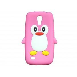 Coque silicone pour Samsung Galaxy S4 Mini / I9190 pingouin rose + film protection écran offert