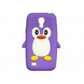 Coque silicone pour Samsung Galaxy S4 Mini / I9190 pingouin violet + film protection écran offert
