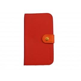 Pochette Etui à rabat pour Samsung I9300 simili-cuir rouge orange  + film protectin écran
