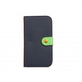 Pochette Etui à rabat pour Samsung I9300 simili-cuir noir vert  + film protectin écran